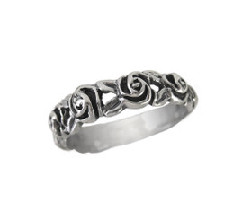 Sterling Silver Band of Roses Ring