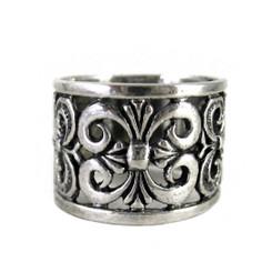 Sterling Silver Romantic Fleur-de-Lis Wide Band Ring