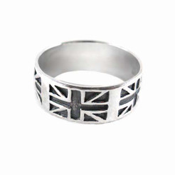 Sterling Silver Union Jack British Flag Band Ring