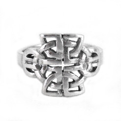 Sterling Silver Round and Angular Celtic Knot Ring