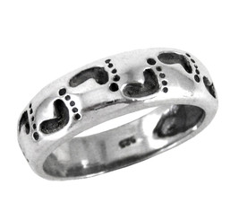 Sterling Silver Footprints Band Ring