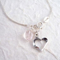 "Sterling Silver Heart Charm & Rose Quartz ""Crush"" Necklace"