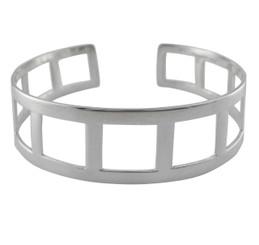 Sterling Silver Cutout Square Cuff Bracelet