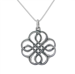 Sterling Silver Celtic Woven Flower Charm Necklace