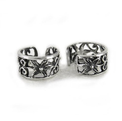 Sterling Silver Flower and Swirl Band Ear Cuff Earring, One Piece