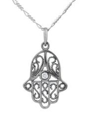 Sterling Silver Hamsa Hand Judaism Khamsa Crystal Charm Necklace