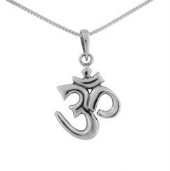 Sterling Silver Hindu Om Sacred Sound Charm Necklace
