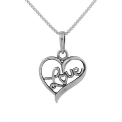 Sterling Silver Love Open Heart Charm Necklace