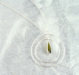 Sterling Silver Two Circles Charm Teardrop Crystal Center Chain Necklace, Olive