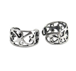 Sterling Silver Elegant Heart Swirls Band Ear Cuff Earring, One Piece