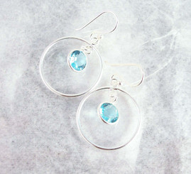 Sterling Silver Circle Charm Round Crystal Center Earrings, Aqua