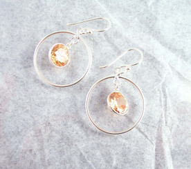 Sterling Silver Circle Charm Round Crystal Center Earrings, Champagne