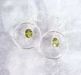 Sterling Silver Circle Charm Round Crystal Center Earrings, Olive