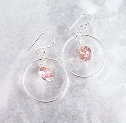 Sterling Silver Circle Charm Round Crystal Center Earrings, Pink