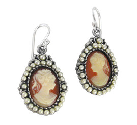 "Sterling Silver ""Louisa"" Resin Cameo Pearlized Beads Earrings, Salmon"