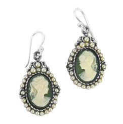 "Sterling Silver ""Louisa"" Resin Cameo Pearlized Beads Earrings, Green"