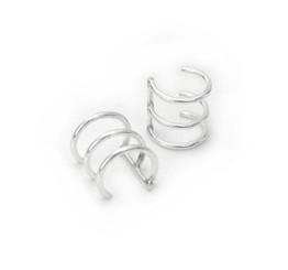 Sterling Silver Three Wire Bars Ear Cuff Earring, One Piece