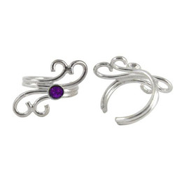 Sterling Silver Swirls and Purple Crystal Ear Cuff Earring, One Piece