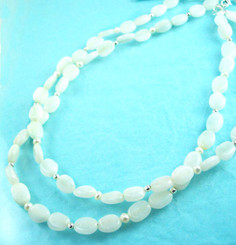 Double Strand Stone Necklace, White Jade