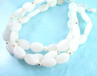 Double Strand Stone Bracelet, White Jade