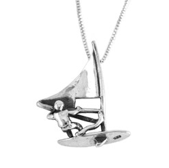 Sterling Silver Windsurfer Charm Pendant Necklace