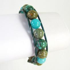 "Leather and Stone Single Wrap Adjustable Bracelet, 7.5 - 9"""