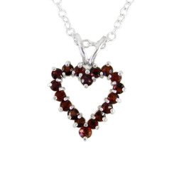 Sterling Silver Garnet Heart on Extendable Chain 16-18