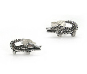 Sterling Silver Crocodile Stud Post Earrings