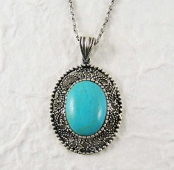 Sterling Silver Stone Filigree Frame Necklace, Turquoise Blue