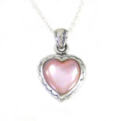 "Sterling Silver Sweet Little Heart on Extendable Chain 16-18"" Necklace, Pink Shell"