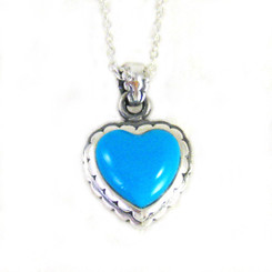 "Sterling Silver Sweet Little Heart on Extendable Chain 16-18"" Necklace, Turquoise"