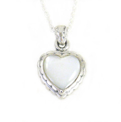 "Sterling Silver Sweet Little Heart on Extendable Chain 16-18"" Necklace, Mother of Pearl"