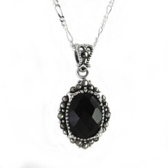 Elegant Black Sparkling Stone Marcasite Accent Sterling Pendant Necklace, 18""