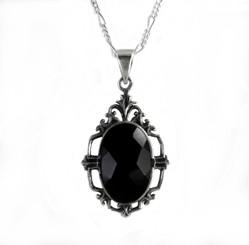"""Elegant Black Crystal Art Deco Sterling Pendant Necklace, 18"""""""