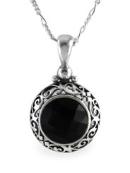 """Sterling Silver Black Crystal Filigree Round Pendant Necklace, 18"""""""