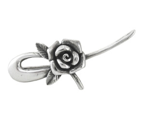Sterling Silver Rose Bloom Brooch Pin