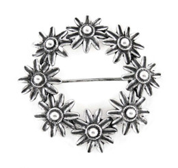Sterling Silver Flower Burst Wreath Brooch Pin