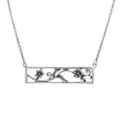 Sterling Silver Daisy Flowers Cutout Rectangle Frame Station Necklace