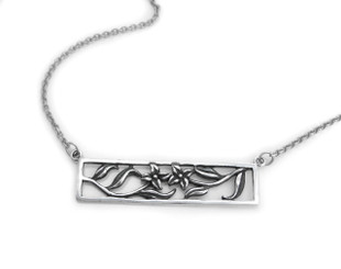 Sterling Silver Four Points Flowers Cutout Rectangle Frame Station Necklace