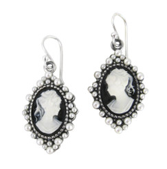 "Sterling Silver ""Grace"" Resin Cameo and Pearlized Beads Frame Earrings, Black"