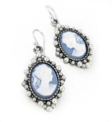 "Sterling Silver ""Grace"" Resin Cameo and Pearlized Beads Frame Earrings, Blue"