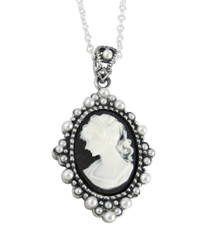 "Sterling Silver Resin Cameo and Pearlized Beads Frame Pendant Necklace, 16-18"" Black"