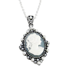 "Sterling Silver Resin Cameo and Pearlized Beads Frame Pendant Necklace, 16-18"" Blue"