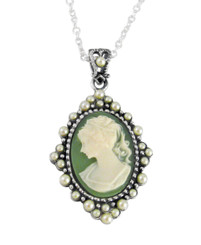 "Sterling Silver Resin Cameo and Pearlized Beads Frame Pendant Necklace, 16-18"" Green"