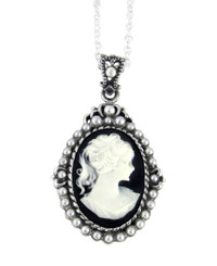 "Sterling Silver ""Blythe"" Resin Cameo and Pearlized Beads Frame Pendant Necklace, 16-18"" Black"