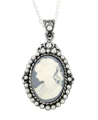 "Sterling Silver ""Blythe"" Resin Cameo and Pearlized Beads Frame Pendant Necklace, 16-18"" Blue"
