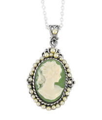 "Sterling Silver ""Blythe"" Resin Cameo and Pearlized Beads Frame Pendant Necklace, 16-18"" Green"