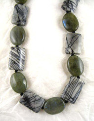 Stone Knotted Sterling Silver Necklace, Webbed Jasper