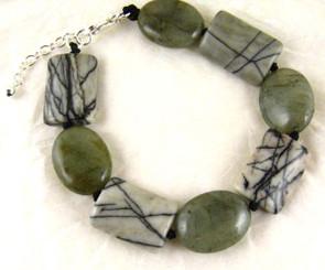 Stone Knotted Sterling Silver Bracelet, Webbed Jasper