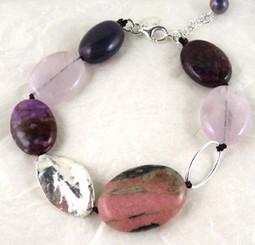 Stones and Link Sterling Silver Bracelet, Lepidolite Combo